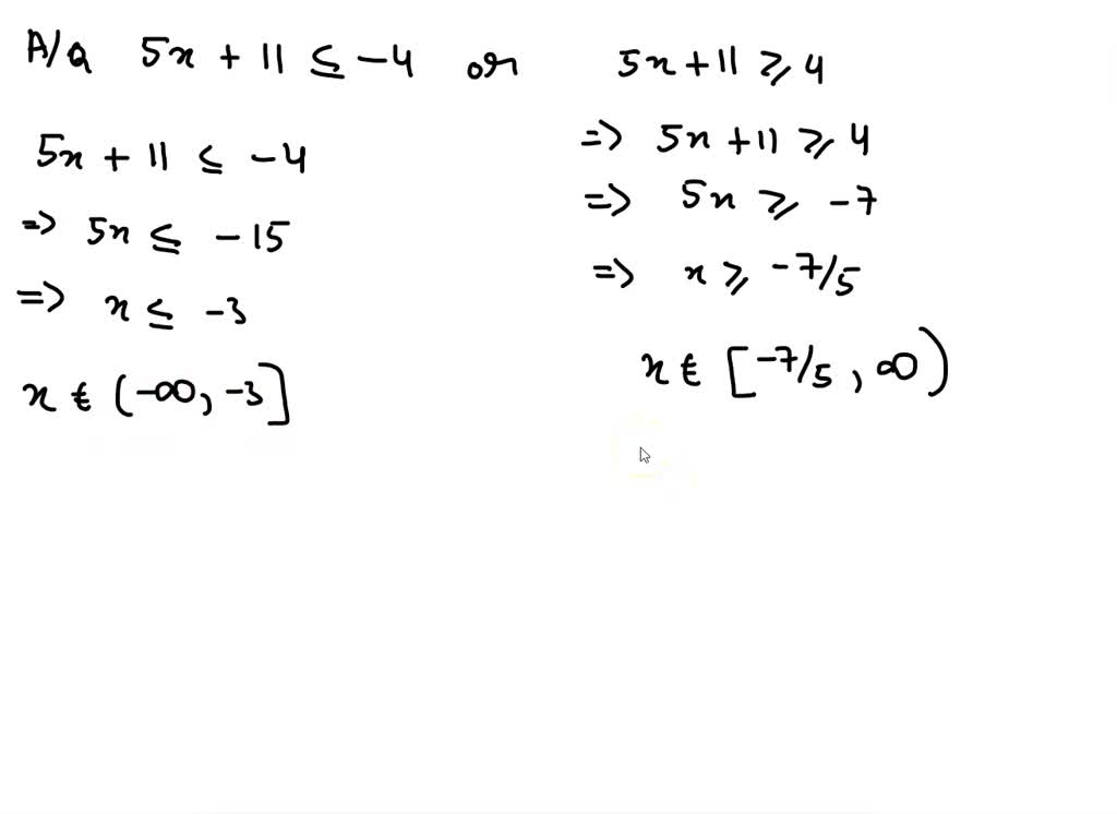solvedsolve and write interval notation for the