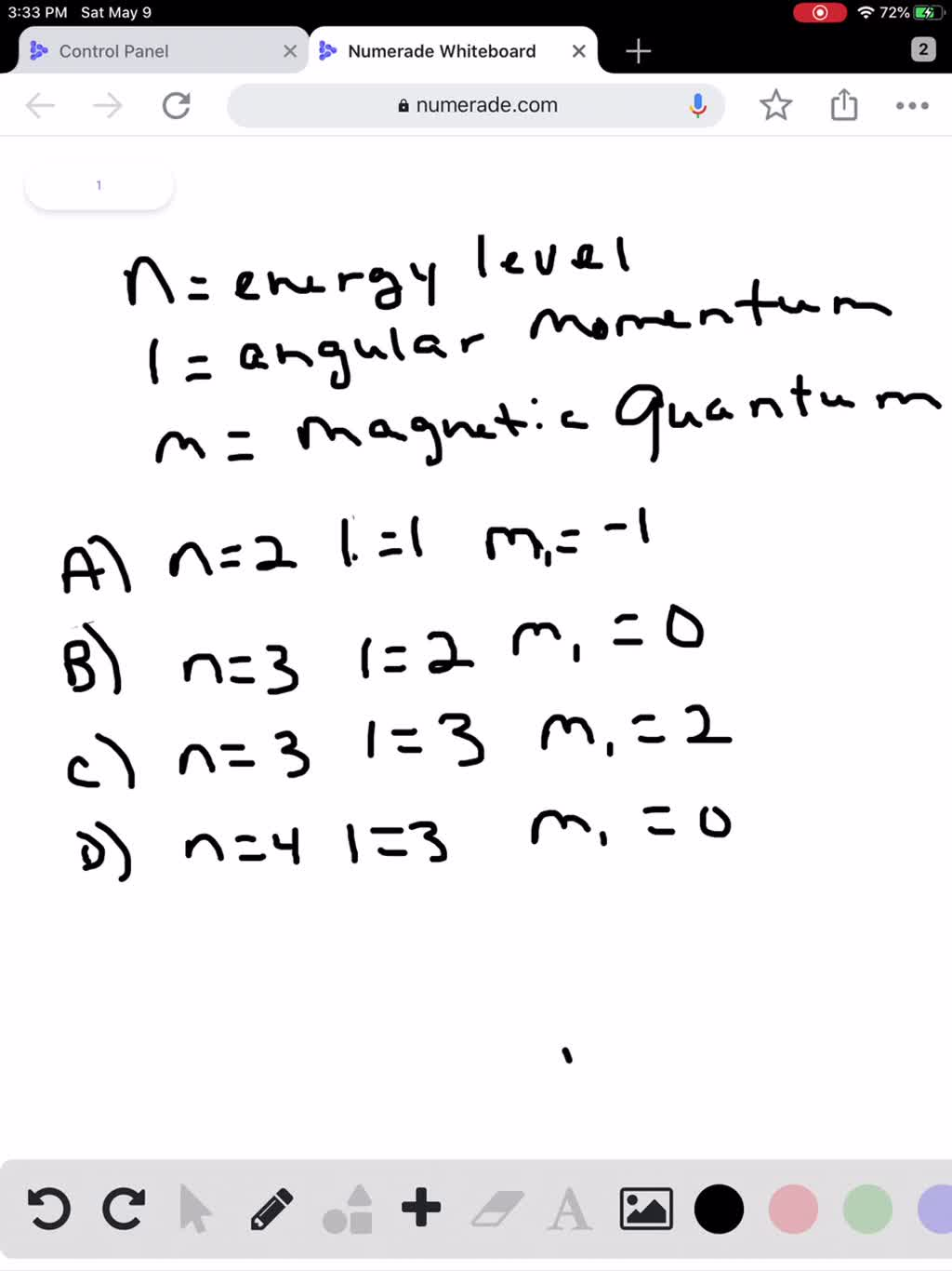 SOLVED:Which set of quantum numbers cannot specif…