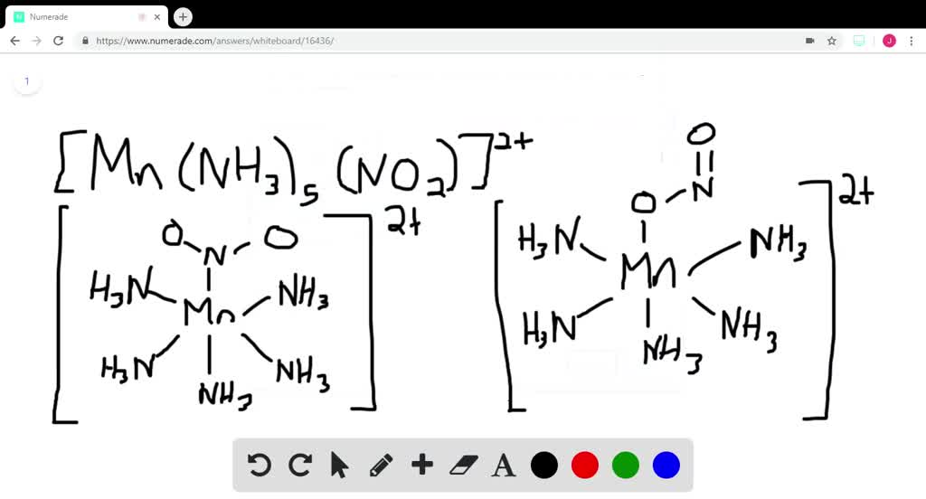 Solution for Draw two linkage isomers of [Mn(NH3)5(NO2)]2+