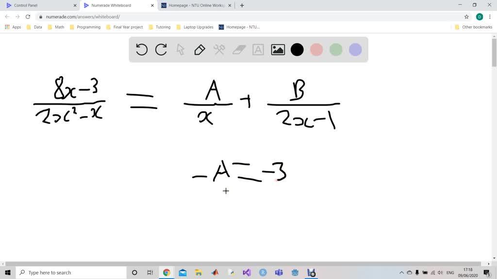Find the partial fraction decomposition. \frac{8