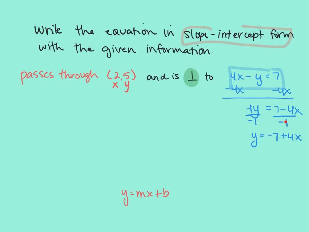 write the slopeintercept equation of the line th…