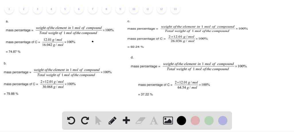 Calculate the mass percent composition of carbon …