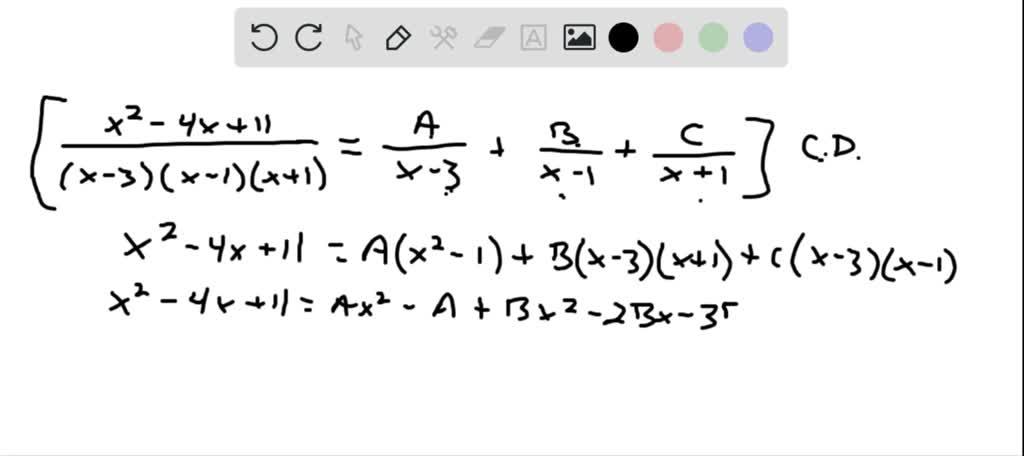 Find the partial fraction decomposition. \frac{x-…